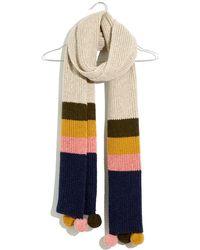 Madewell Colorblock Stripe Pompom Scarf - Multicolor
