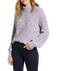 Caslon Caslon Mock Neck Pullover - Purple