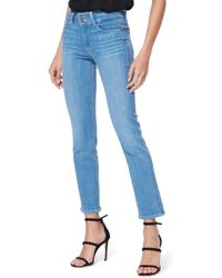 PAIGE Hidden Hills High Waist Ankle Straight Leg Jeans - Blue