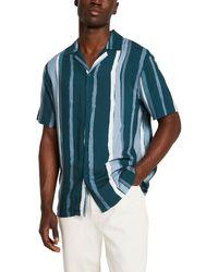 River Island - Paint Stripe Short Sleeve Button-up Camp Shirt - Lyst