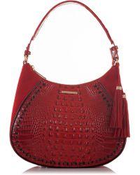 Brahmin - Amira Croc Embossed Leather Shoulder Bag - Lyst