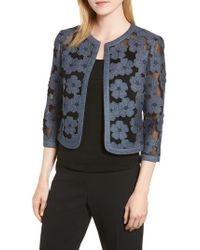 Anne Klein - Floral Embroidered Mesh Cardigan - Lyst