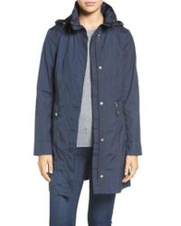 Cole Haan - Back Bow Packable Hooded Raincoat, Blue - Lyst