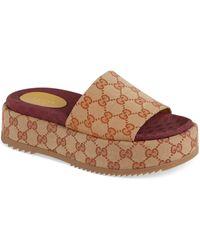 Gucci Angelina Gg Supreme Platform Slide Sandal - Natural