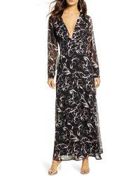 Leith Deep V-neck Long Sleeve Maxi Dress - Black