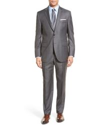 Peter Millar Classic Fit Solid Wool Suit - Grey