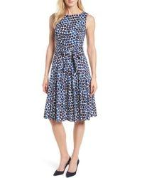 Anne Klein - New York Neroli Print Cotton Sateen Dress - Lyst