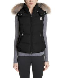 Moncler - Gallinule Quilted Down Vest With Detachable Genuine Fox Fur Trim Hood - Lyst
