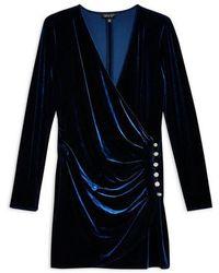 TOPSHOP - Velvet Drape Button Mini Dress - Lyst