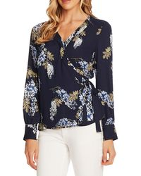 Vince Camuto Weeping Willows Wrap Blouse - Blue