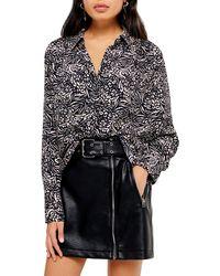 TOPSHOP Animal Print Longer Shirt - Black
