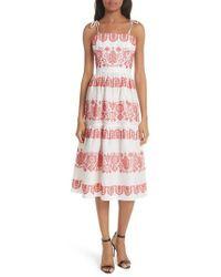 MILLY - Mykonos Embroidered Linen Sundress - Lyst