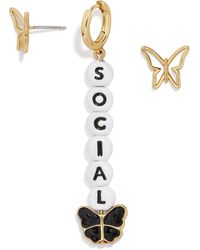 658afac9d4cce Kate Spade Social Butterfly Linear Earrings in Metallic - Lyst