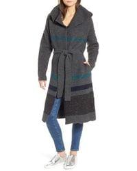 James Perse - Belted Blanket Stripe Coat - Lyst