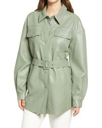Sanctuary Faux Leather Belted Shirt Jacket - Green
