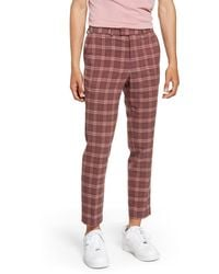 TOPMAN Plaid Skinny Fit Crop Dress Pants - Red