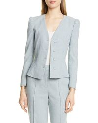 TAILORED BY REBECCA TAYLOR Collarless Linen Blend Jacket - Blue