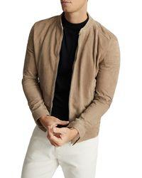 Reiss Brooks Slim Fit Leather Jacket - Multicolor