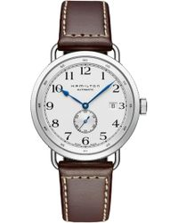 Hamilton - Khaki Navy Pioneer Leather Strap Watch - Lyst