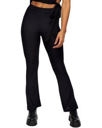 TOPSHOP Ribbed Flare Leg Pants - Black
