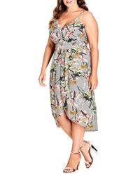 City Chic - Romantic Bouquet Faux Wrap Dress - Lyst