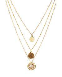 Panacea Layered Pendant Necklace - Metallic