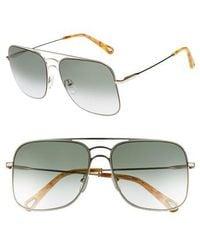 Chloé - 58mm Metal Navigator Sunglasses - Lyst