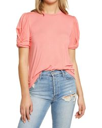 English Factory - Twisted Sleeve Stretch Knit Top - Lyst