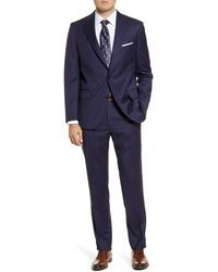 Peter Millar Classic Fit Windowpane Wool Suit - Blue