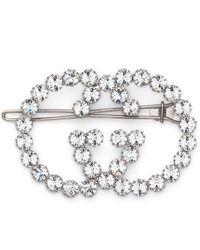 Gucci Interlocking G Embellished Hair Pin - Metallic