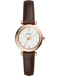 Fossil - Carlie Leather Strap Watch - Lyst