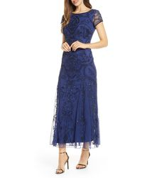 Pisarro Nights Embellished Mesh Gown - Blue