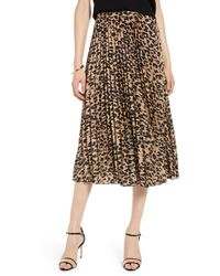 Halogen Halogen Pleated Midi Skirt - Brown