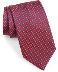 David Donahue Geometric Silk Tie - Red
