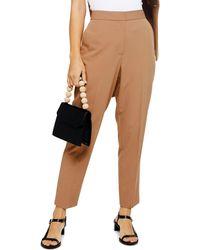 TOPSHOP Camel Suit Pants - Natural