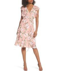 Charles Henry - Ruffle Sleeve Floral Wrap Dress - Lyst