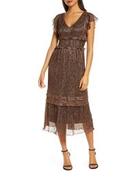 Julia Jordan Metallic Ruffle Trim Midi Dress