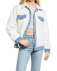 BP. Reversible Faux Fur Denim Jacket - White