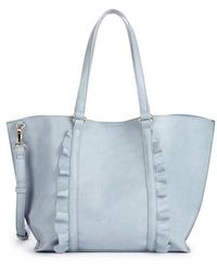 Sole Society - Adelina Ruffled Faux Leather Tote - - Lyst