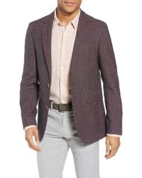 Sand - Trim Fit Check Wool Blend Sport Coat - Lyst