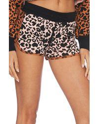 Beach Riot Rae Leopard Print Shorts - Black