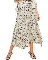 TOPSHOP Petite Cream Spot Tiered Midi Skirt - Natural