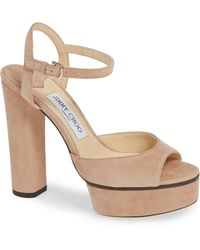 81f309091019 Lyst - Jimmy Choo Inka Wedge Patent Sandal Nude in Natural