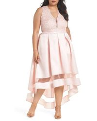 Marina - Lace & Pleated High/low Gown - Lyst