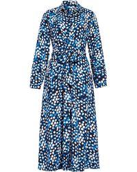 Halogen Halogen Long Sleeve Midi Shirtdress - Blue