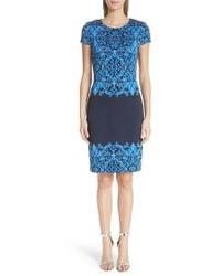 St. John - Cool Tones Brocade Knit Dress - Lyst