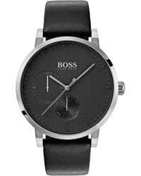 BOSS - Oxygen Chronograph Leather Strap Watch - Lyst