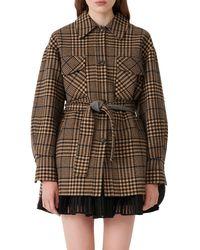 Maje - Plaid Belted Wool Blend Coat - Lyst