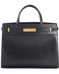 Saint Laurent Small Manhattan Leather Satchel - Black