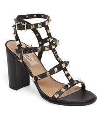 bc6f56d6ffe Lyst - Valentino Rockstud Block Heel Sandal in Black